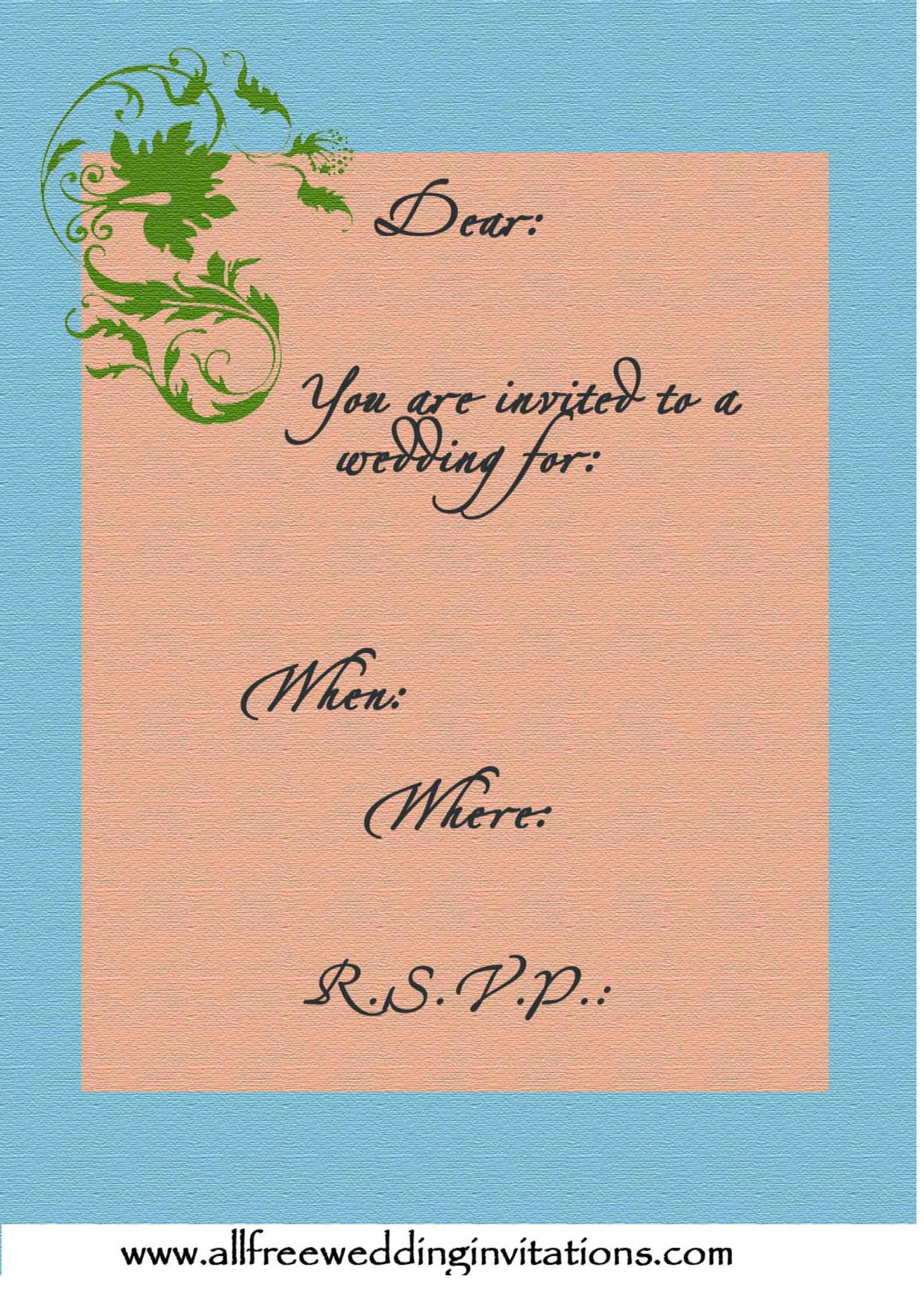 blue and pale orange with green trim wedding invite