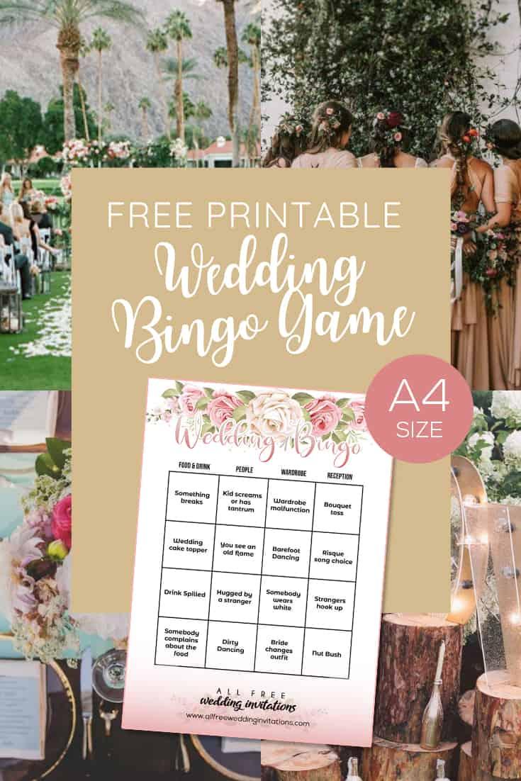 Free Printable Wedding Bingo Game - All Free Wedding Invitations