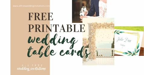 Free Printable wedding place card templates